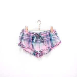 PINK AERIE PLAID SLEEP SHORTS WITH RUFFLE
